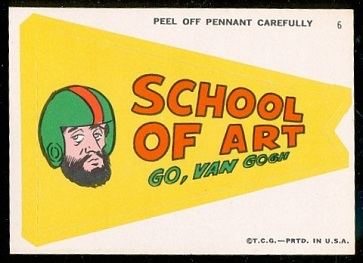School of Art: Go, Van Gogh 1967 Topps Krazy Pennants football card