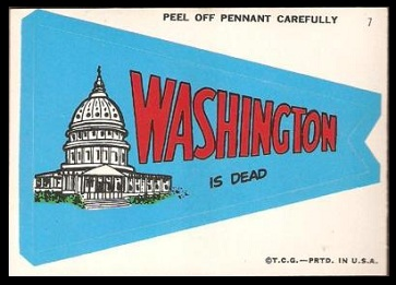 Washington is Dead 1967 Topps Krazy Pennants football card