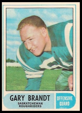 Gary Brandt 1968 O-Pee-Chee CFL football card