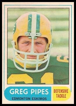 Greg Pipes 1968 O-Pee-Chee CFL football card