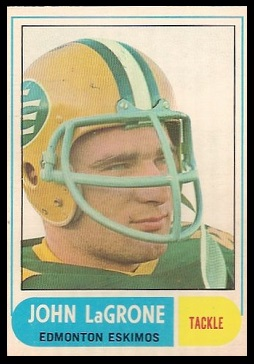 John LaGrone 1968 O-Pee-Chee CFL football card