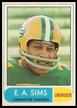 E.A. Sims 1968 O-Pee-Chee CFL football card