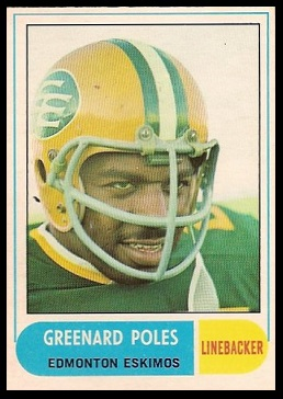 Greenard Poles 1968 O-Pee-Chee CFL football card
