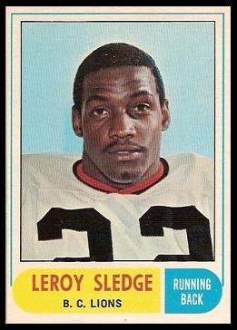 Leroy Sledge 1968 O-Pee-Chee CFL football card