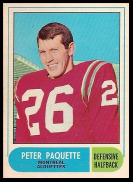 Peter Paquette 1968 O-Pee-Chee CFL football card