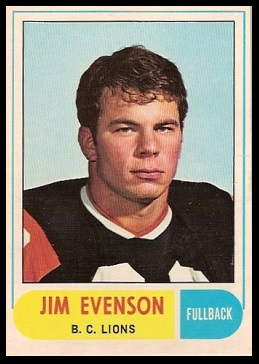Jim Evenson 1968 O-Pee-Chee CFL football card