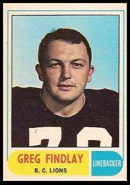 Greg Findlay 1968 O-Pee-Chee CFL football card