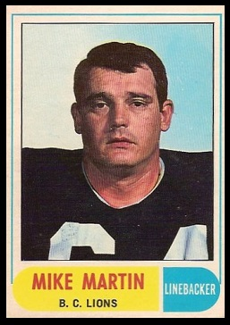 Mike Martin 1968 O-Pee-Chee CFL football card
