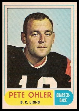 Pete Ohler 1968 O-Pee-Chee CFL football card