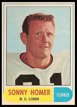 Sonny Homer 1968 O-Pee-Chee CFL football card
