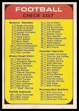 Checklist 1968 O-Pee-Chee CFL football card