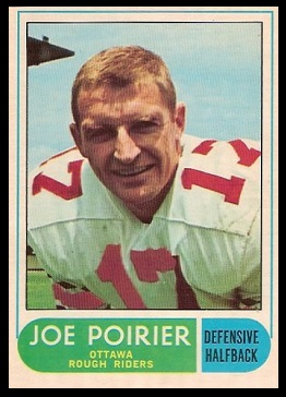 Joe Poirier 1968 O-Pee-Chee CFL football card