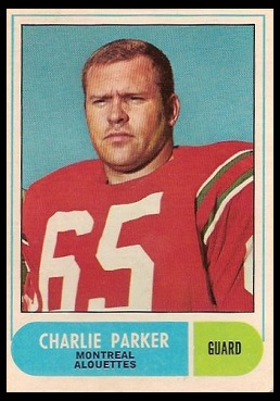 Charlie Parker 1968 O-Pee-Chee CFL football card