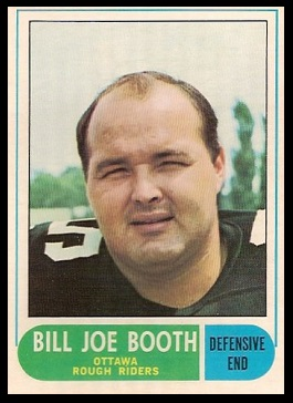 Billy Joe Booth 1968 O-Pee-Chee CFL football card