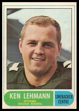 Ken Lehmann 1968 O-Pee-Chee CFL football card