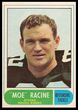 Moe Racine 1968 O-Pee-Chee CFL football card