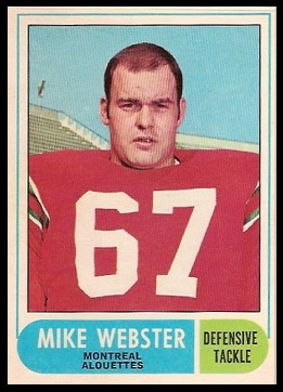 Mike Webster 1968 O-Pee-Chee CFL football card