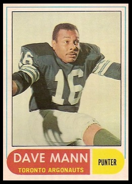 Dave Mann 1968 O-Pee-Chee CFL football card