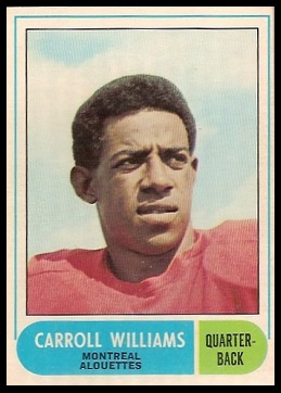 Carroll Williams 1968 O-Pee-Chee CFL football card