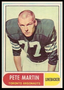 Peter Martin 1968 O-Pee-Chee CFL football card