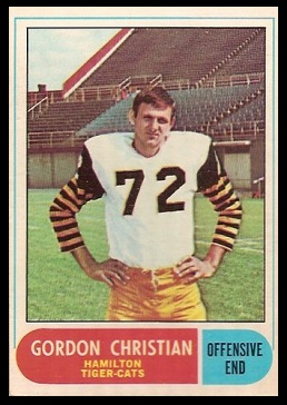 Gordon Christian 1968 O-Pee-Chee CFL football card