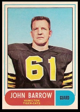 John Barrow 1968 O-Pee-Chee CFL football card
