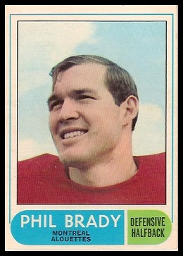 Phil Brady 1968 O-Pee-Chee CFL football card