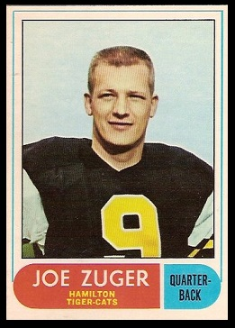 Joe Zuger 1968 O-Pee-Chee CFL football card