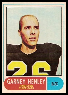Garney Henley 1968 O-Pee-Chee CFL football card