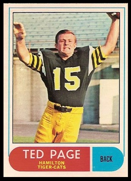 Ted Page 1968 O-Pee-Chee CFL football card