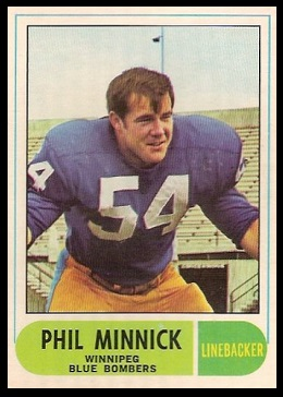 Phil Minnick 1968 O-Pee-Chee CFL football card