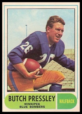 Butch Pressley 1968 O-Pee-Chee CFL football card