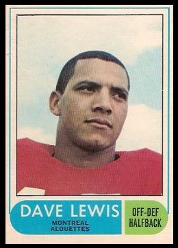 Dave Lewis 1968 O-Pee-Chee CFL football card
