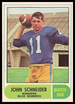 John Schneider 1968 O-Pee-Chee CFL football card
