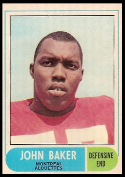 John Baker 1968 O-Pee-Chee CFL football card