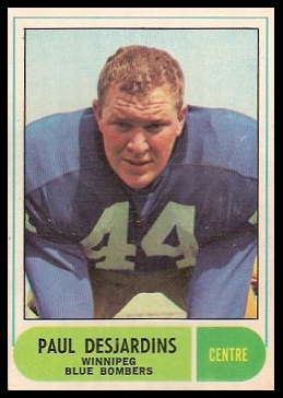Paul Desjardins 1968 O-Pee-Chee CFL football card