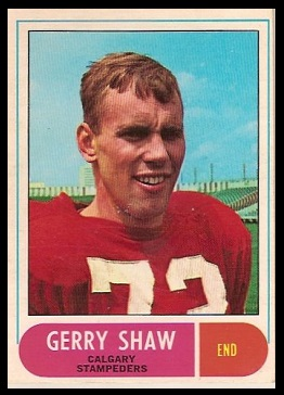 Gerry Shaw 1968 O-Pee-Chee CFL football card