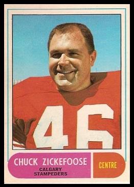Chuck Zickefoose 1968 O-Pee-Chee CFL football card