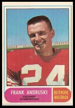 Frank Andruski 1968 O-Pee-Chee CFL football card