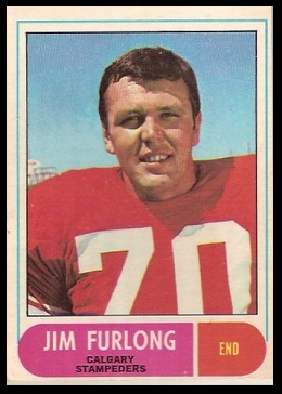 Jim Furlong 1968 O-Pee-Chee CFL football card