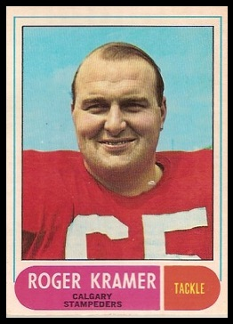 Roger Kramer 1968 O-Pee-Chee CFL football card