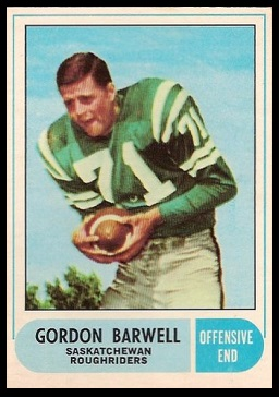 Gordon Barwell 1968 O-Pee-Chee CFL football card