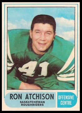 Ron Atchison 1968 O-Pee-Chee CFL football card