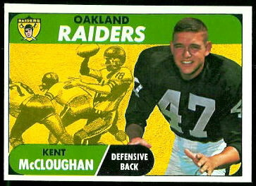 Kent McCloughan 1968 Topps football card