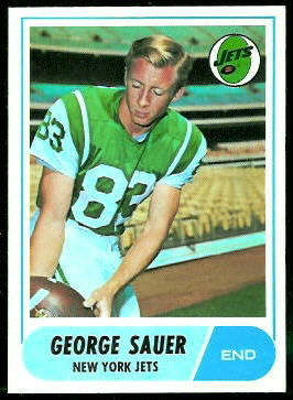 George Sauer Jr. 1968 Topps football card
