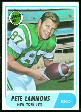 Pete Lammons 1968 Topps football card