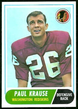 Paul Krause 1968 Topps football card