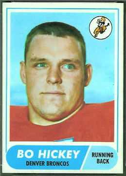 Bo Hickey 1968 Topps football card