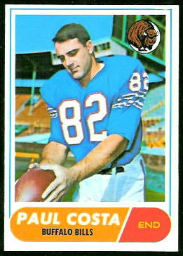 Paul Costa 1968 Topps football card