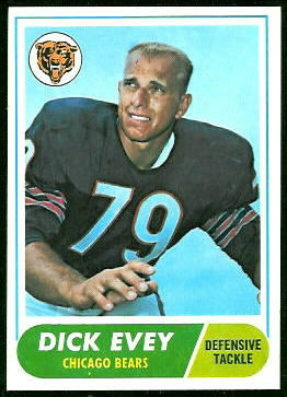 Dick Evey 1968 Topps football card